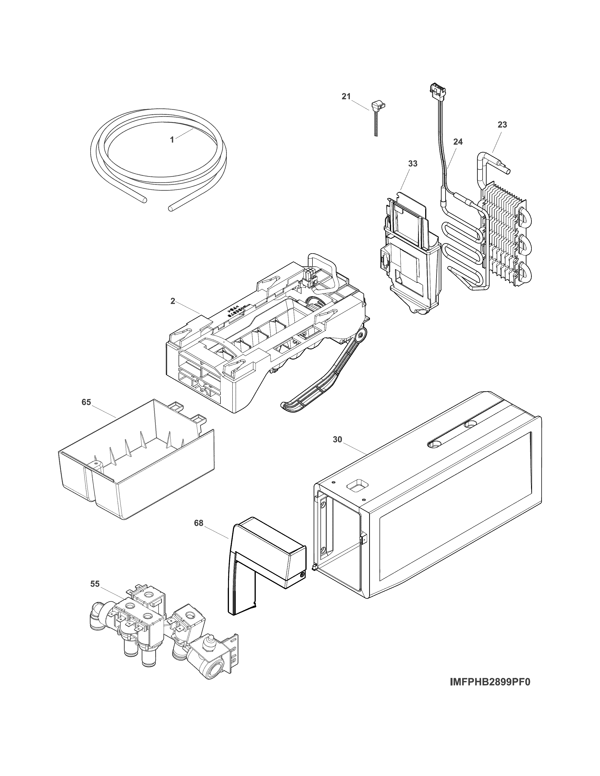 ICE MAKER Diagram & Parts List for Model fghb2866pf9a