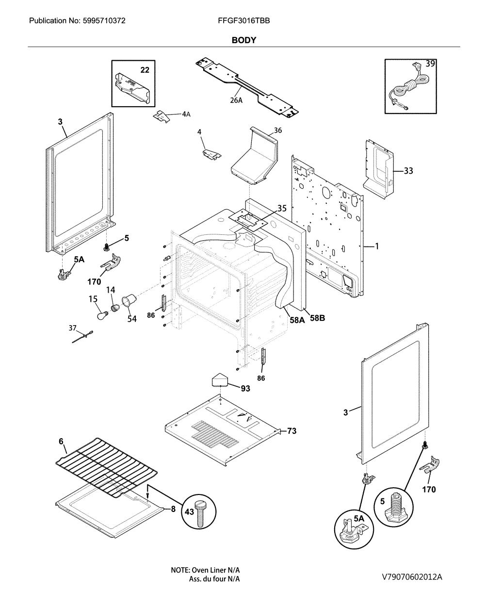 medium resolution of frigidaire ffgf3016tbb body diagram