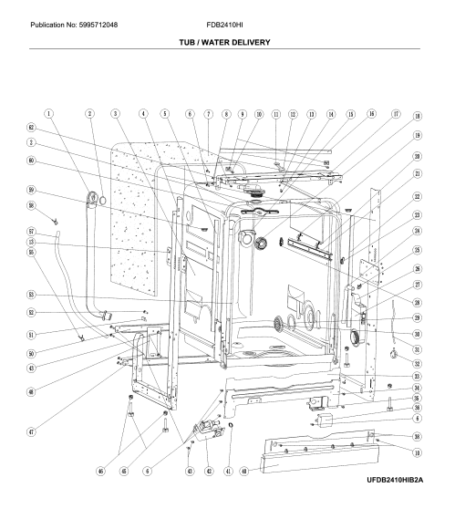small resolution of frigidaire fdb2410his2a tub water delivery diagram