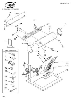 ROPER DRYER Parts   Model RGX4634KQ2   Sears PartsDirect