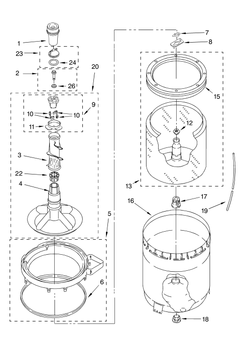 small resolution of whirlpool lsn2000lg1 agitator basket and tub parts diagram