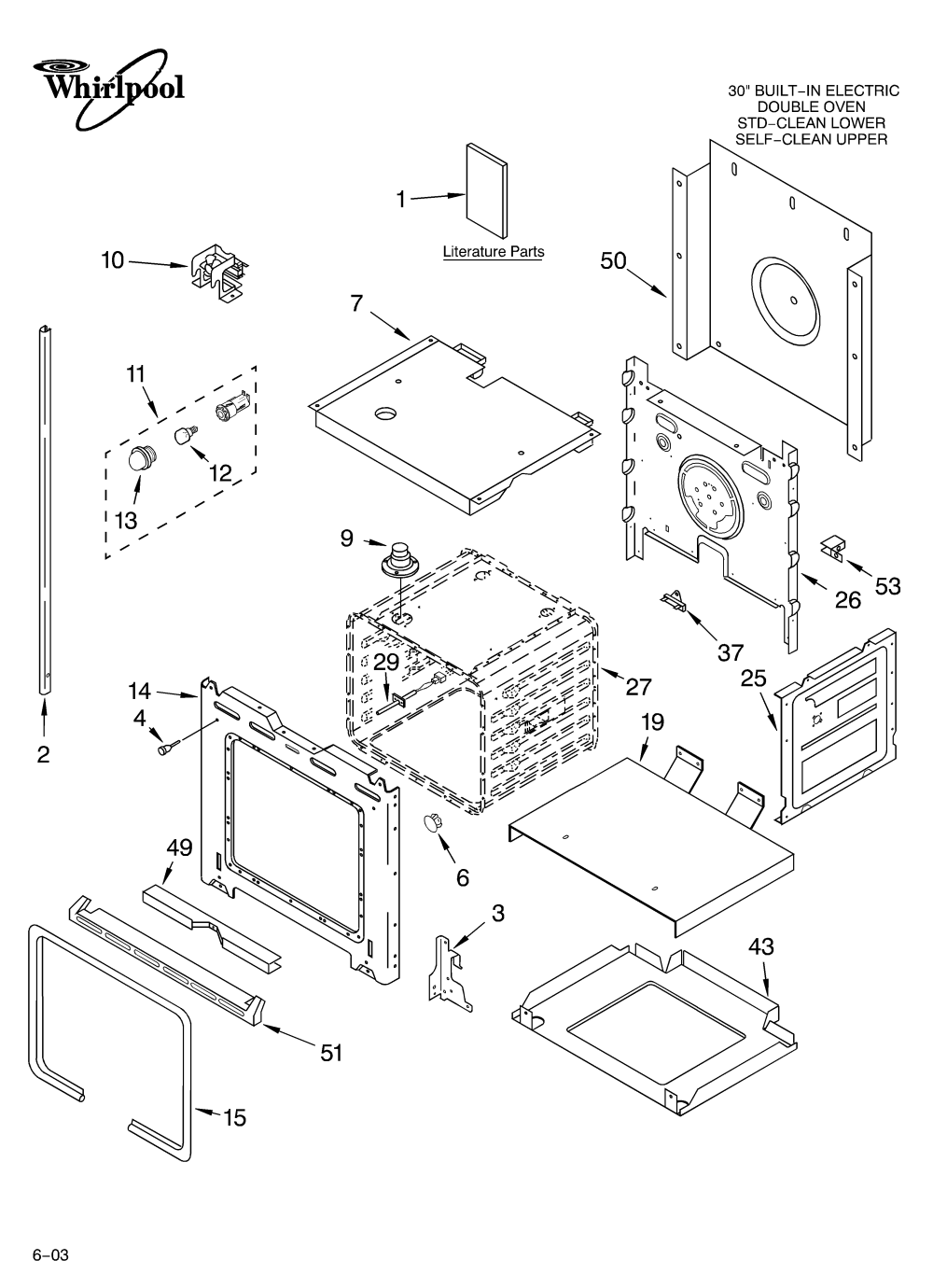 medium resolution of whirlpool rbd305pdq14 lower oven parts diagram