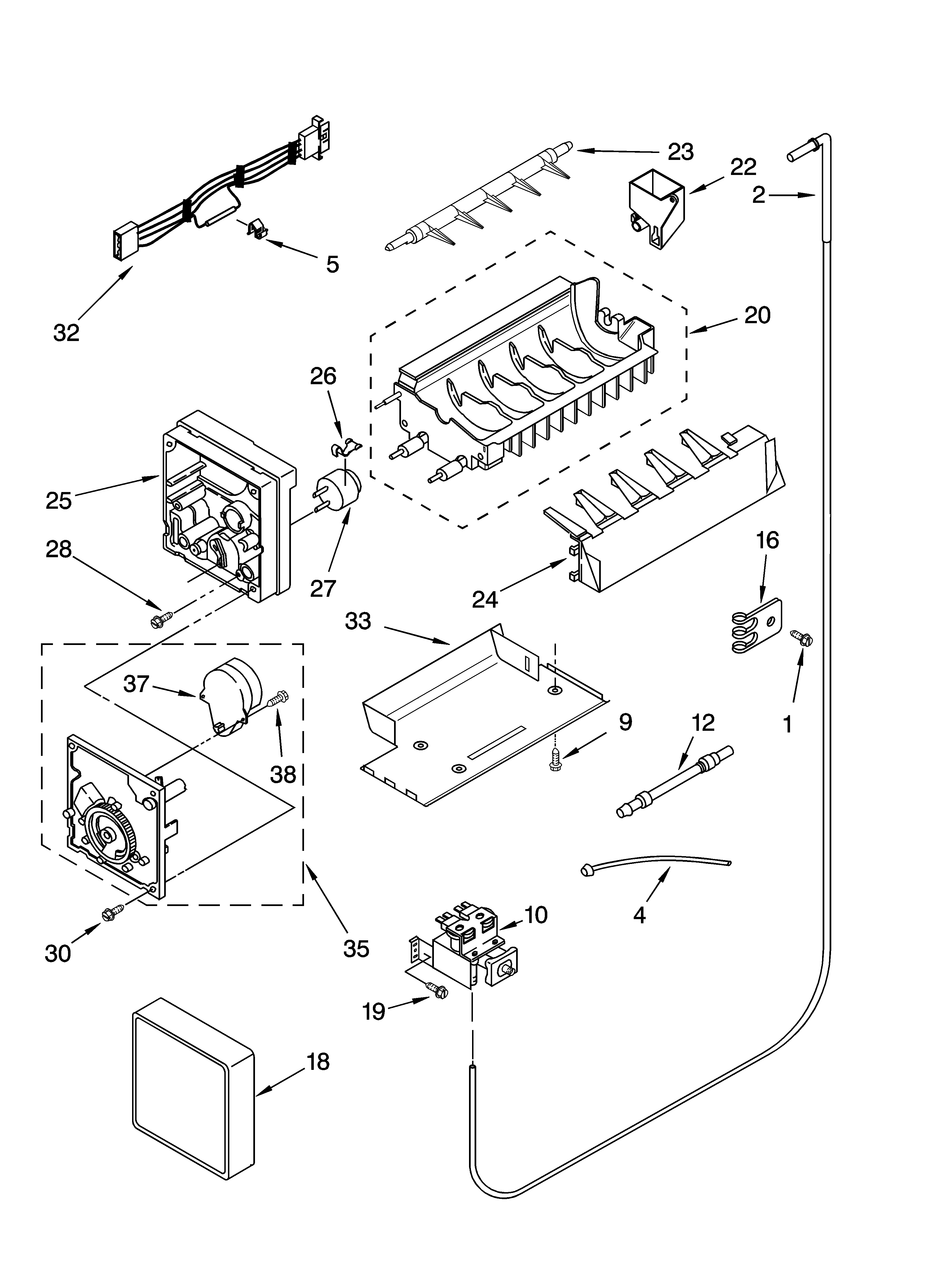 ICEMAKER PARTS Diagram & Parts List for Model ED2SHAXMB10