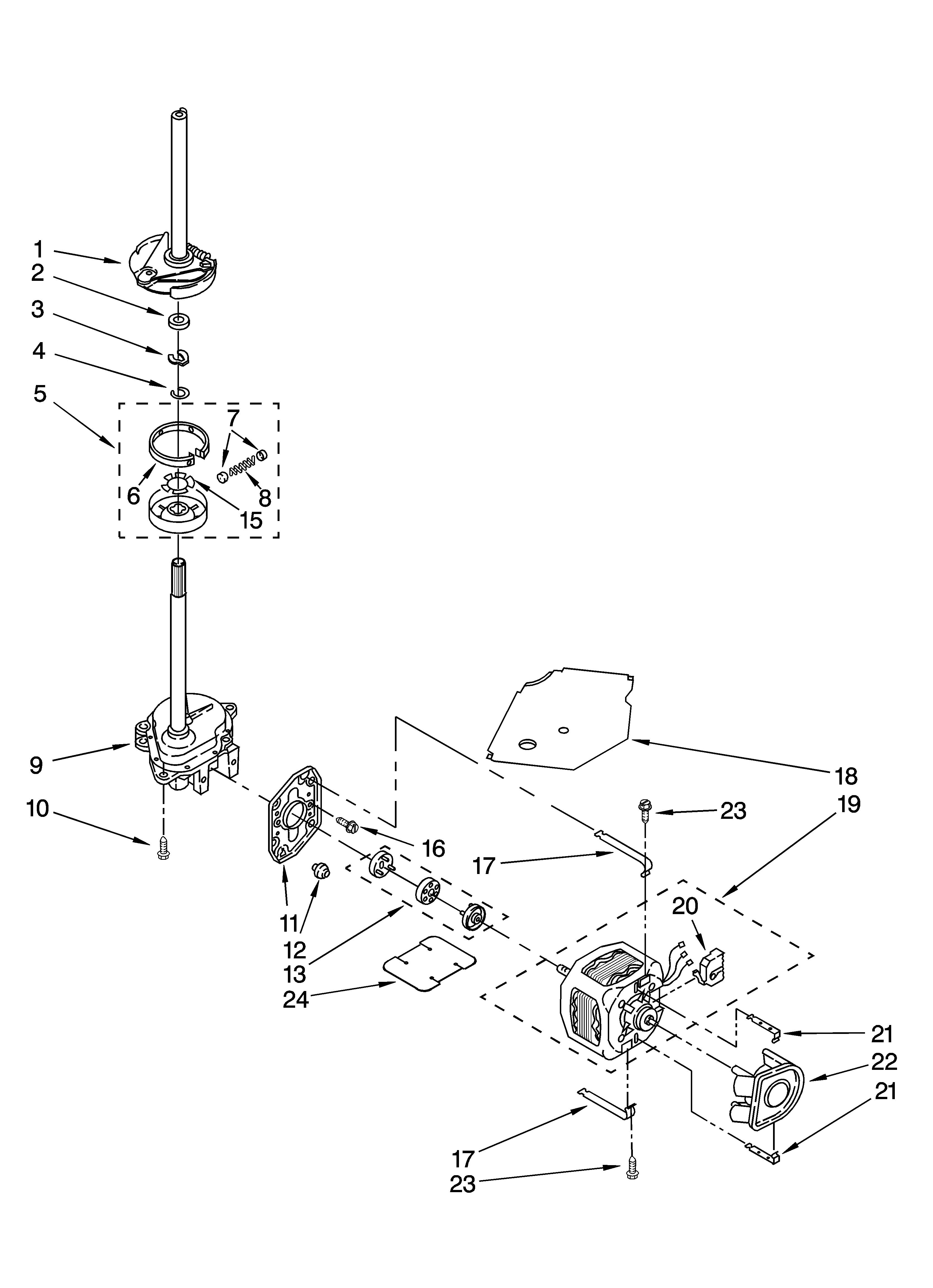 BRAKE, CLUTCH, GEARCASE, MOTOR AND PUMP PARTS Diagram
