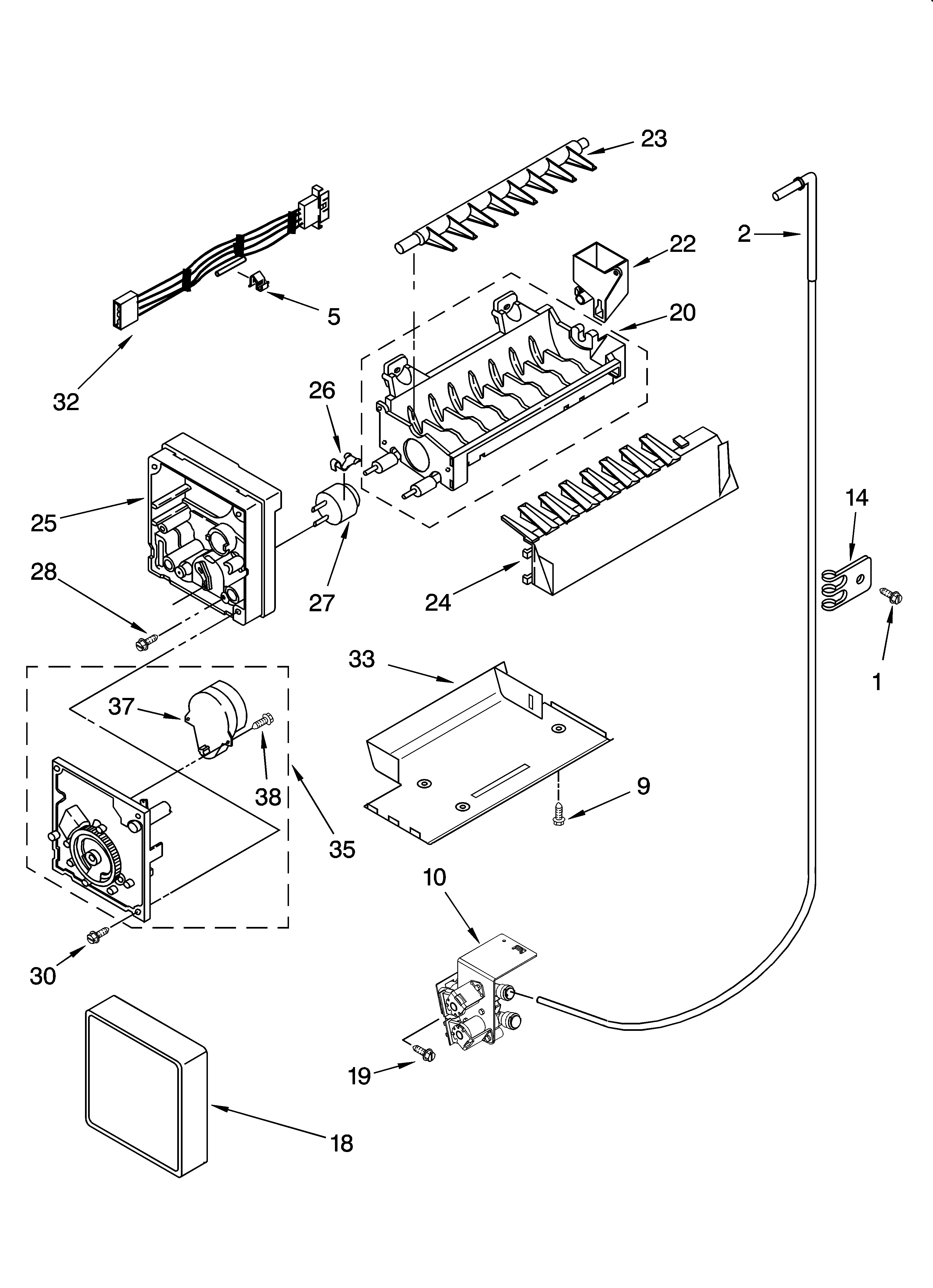ICEMAKER PARTS, OPTIONAL PARTS (NOT INCLUDED) Diagram