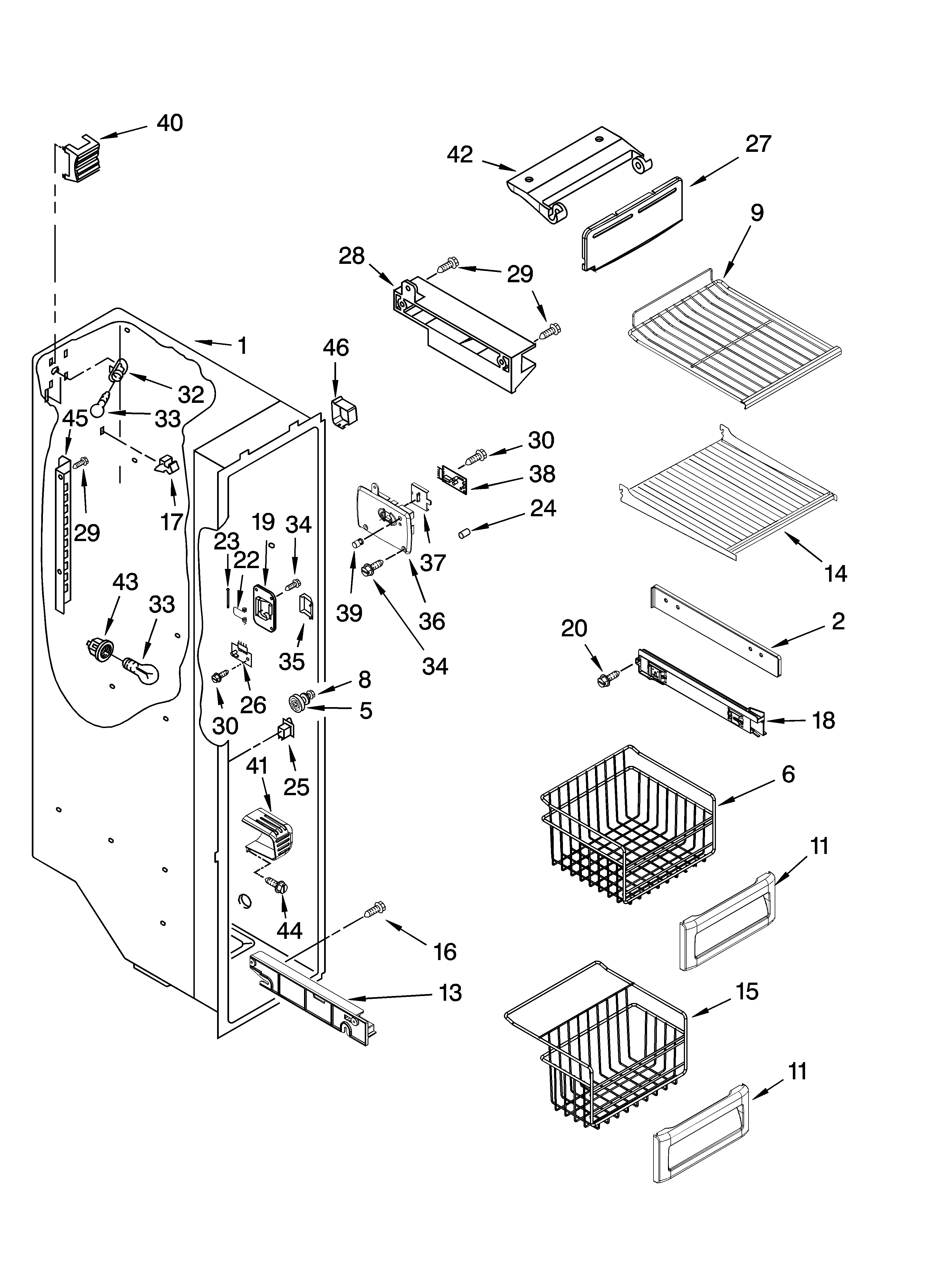 FREEZER LINER PARTS Diagram & Parts List for Model