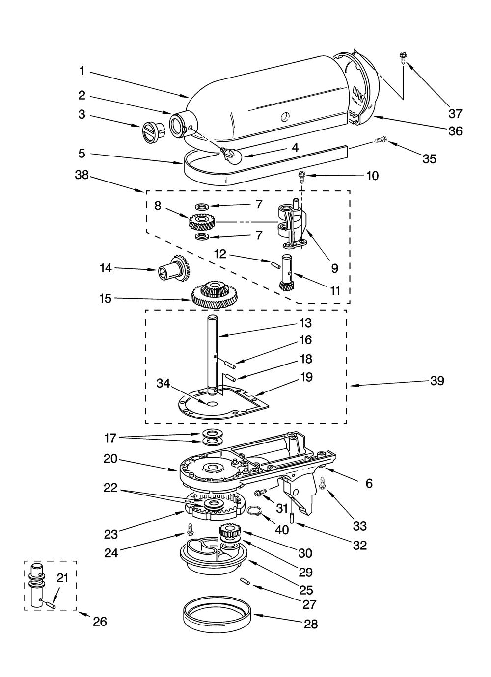 medium resolution of kitchenaid ksm75wh1 case gearing and planetary unit diagram