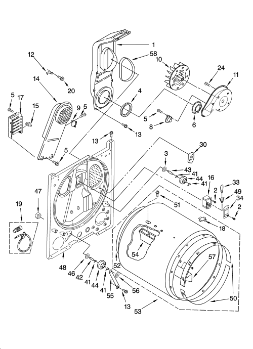 small resolution of whirlpool wed5840sw0 bulkhead parts optional parts not included diagram