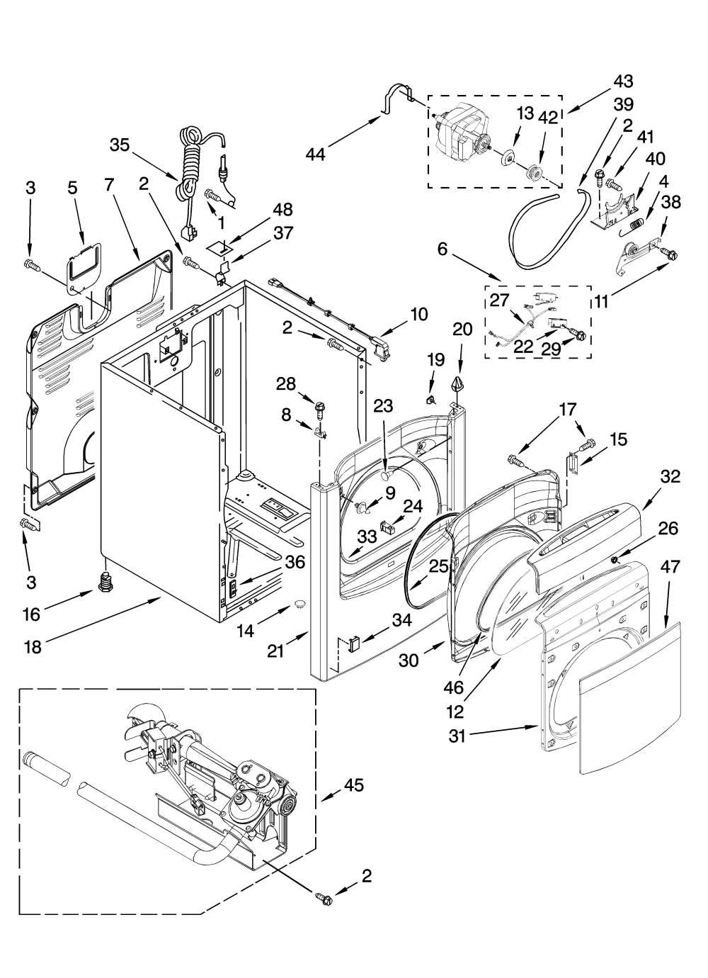 medium resolution of whirlpool wgd6400sb0 cabinet parts diagram