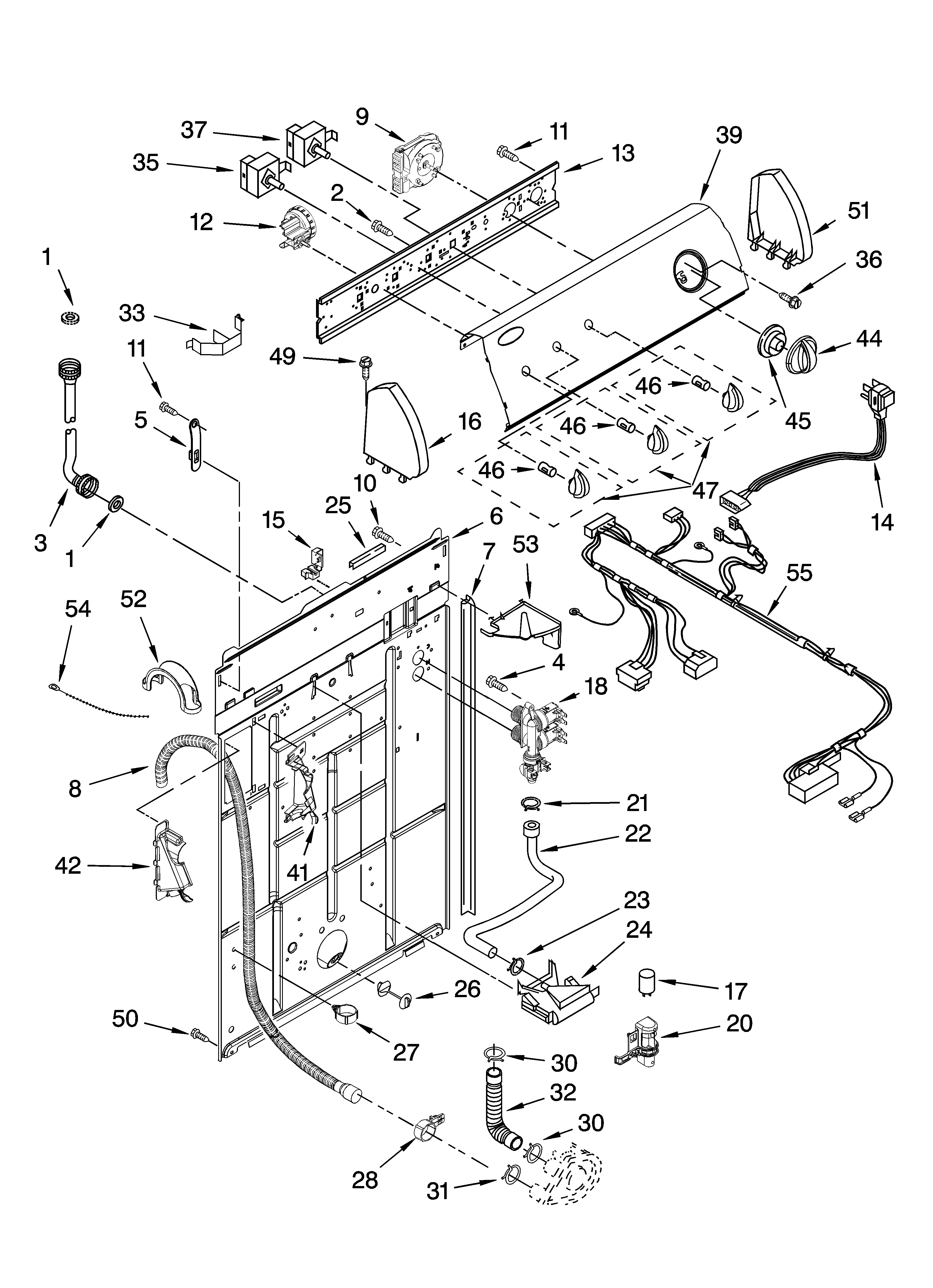 small resolution of whirlpool wtw5520sq0 controls and rear panel parts diagram
