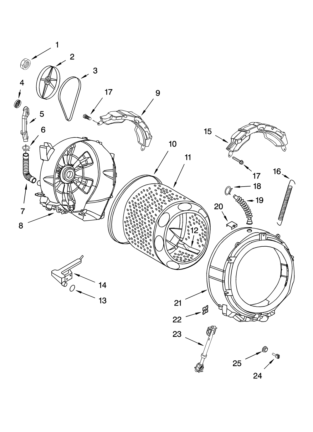 medium resolution of whirlpool ghw9150pw4 tub and basket parts diagram