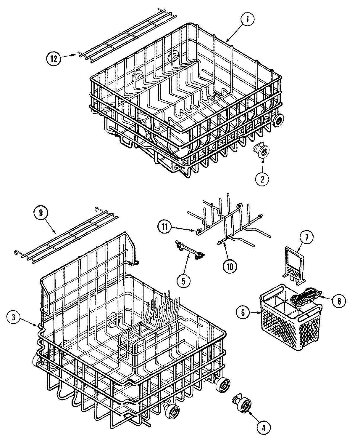 RACKS Diagram & Parts List for Model dwu9906aax Maytag