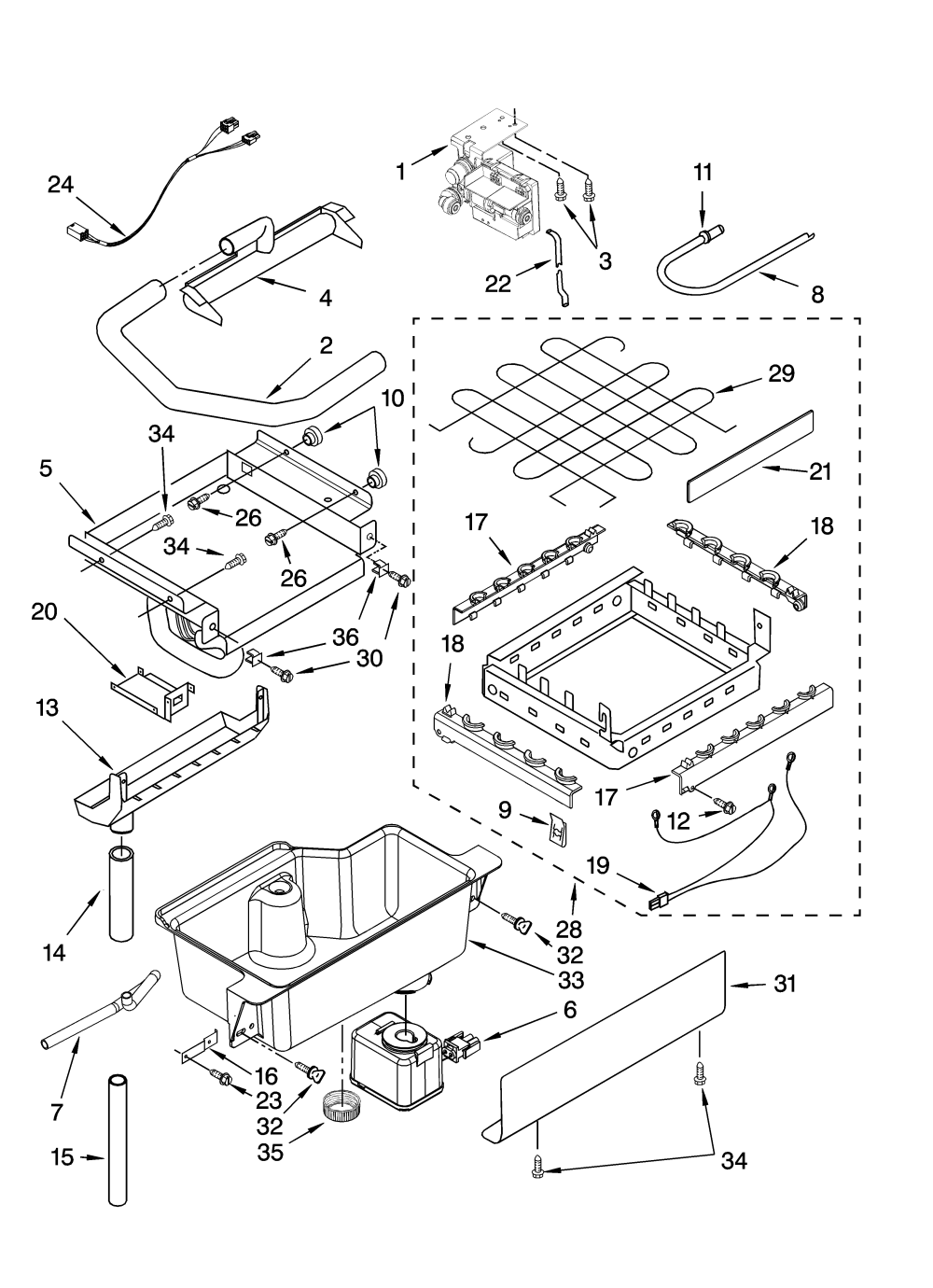 medium resolution of kitchenaid kuis18nntb1 evaporator ice cutter grid and water parts diagram