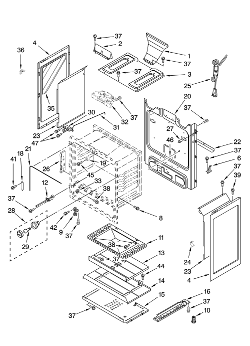 small resolution of whirlpool sf265lxts2 chassis parts diagram