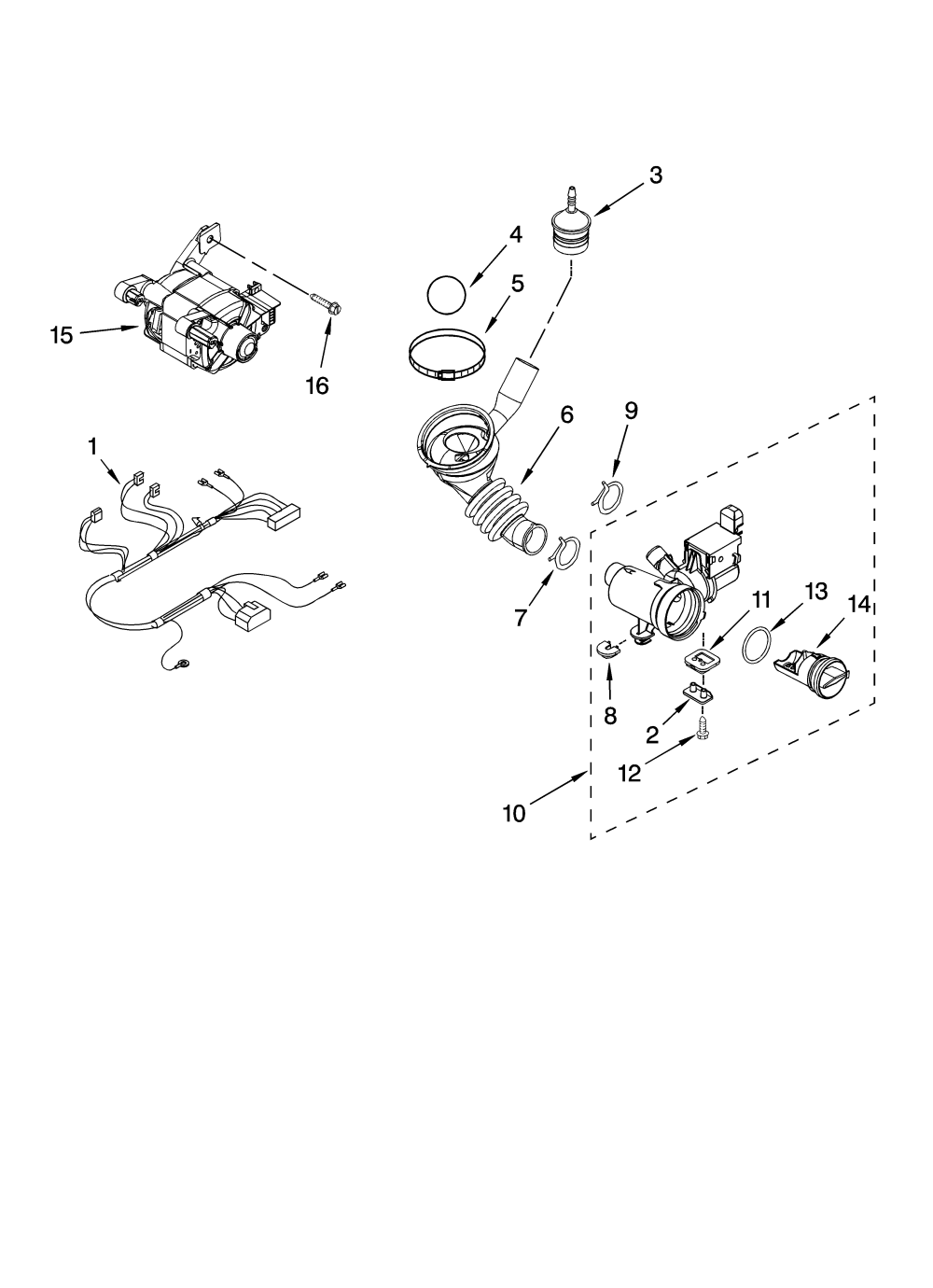 medium resolution of whirlpool wfw8400tw02 pump and motor parts diagram