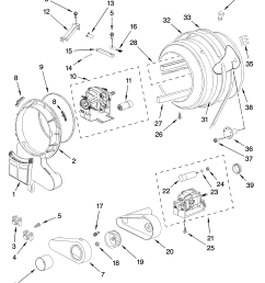 whirlpool wed7500vw0 drum and motor parts optional parts not included diagram [ 3348 x 4623 Pixel ]