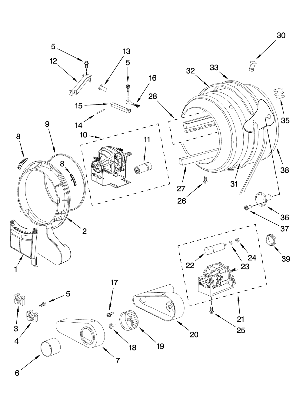 medium resolution of whirlpool wed7500vw0 drum and motor parts optional parts not included diagram