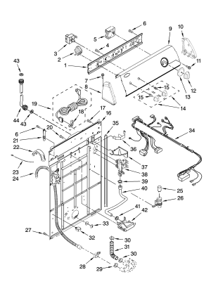 CONTROLS AND REAR PANEL PARTS Diagram & Parts List for