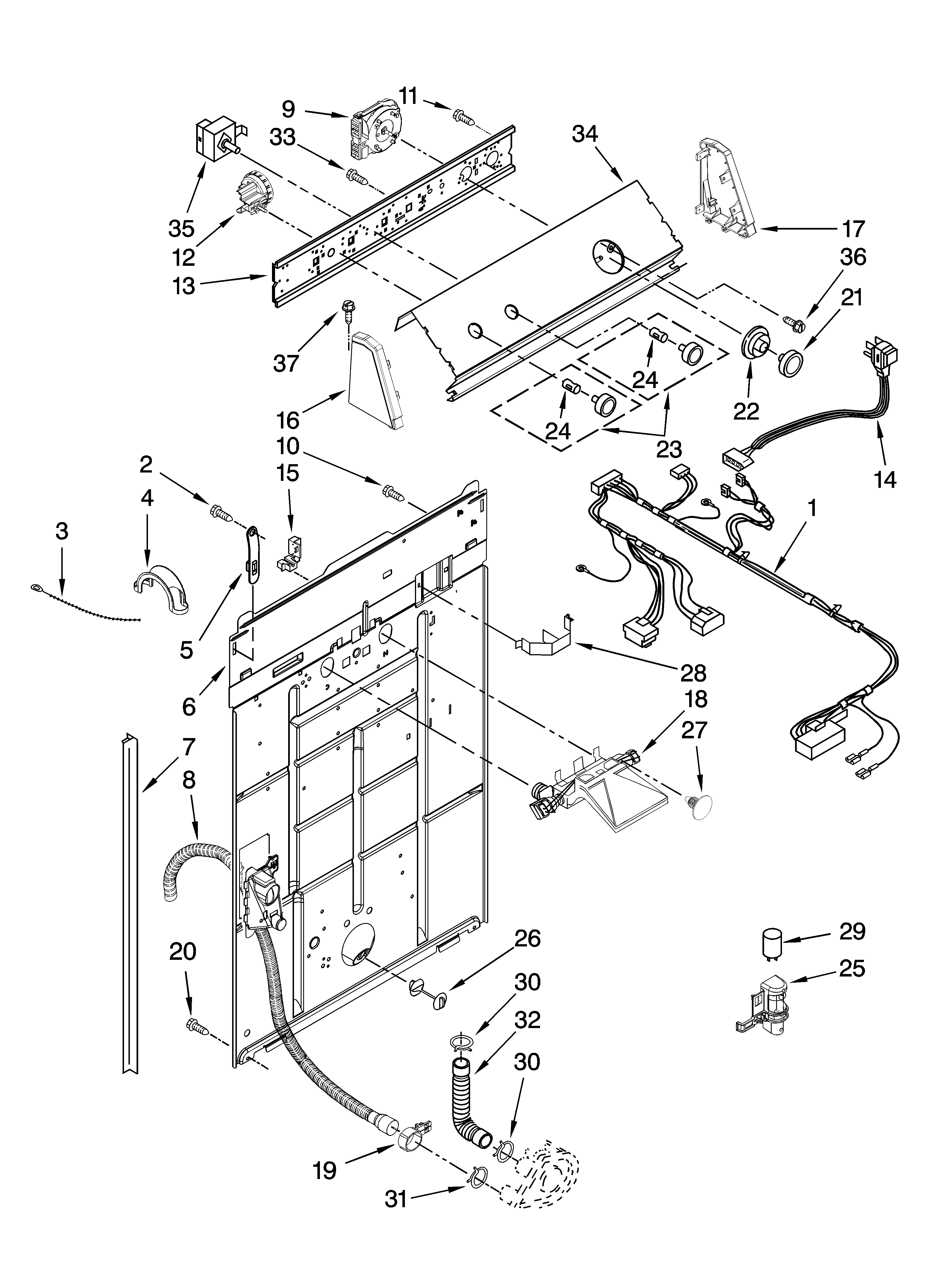 Controls and rear panel parts