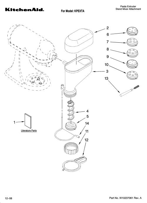 small resolution of kitchenaid kpexta attachment parts diagram