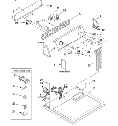 whirlpool wed5100vq1 top and console parts diagram [ 2550 x 3300 Pixel ]