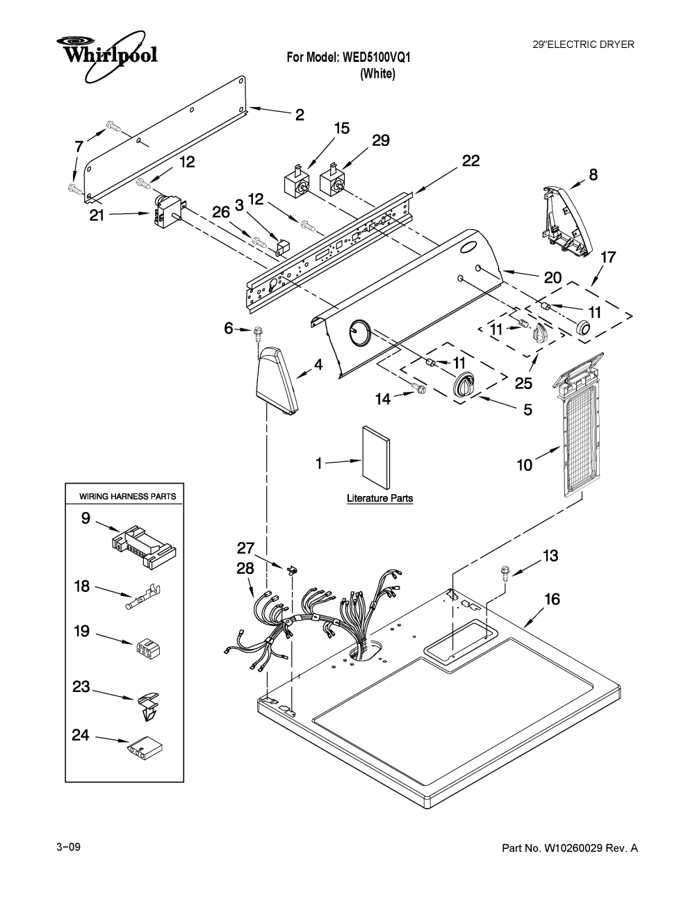 medium resolution of whirlpool wed5100vq1 top and console parts diagram