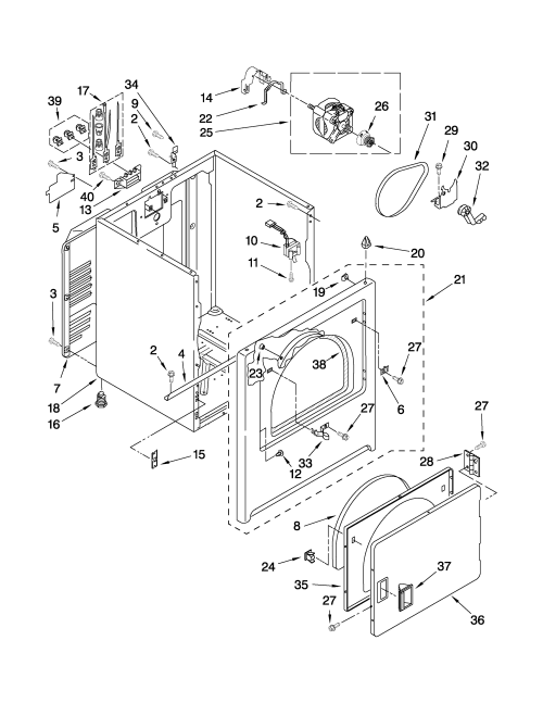 small resolution of whirlpool wed5100vq1 cabinet parts diagram