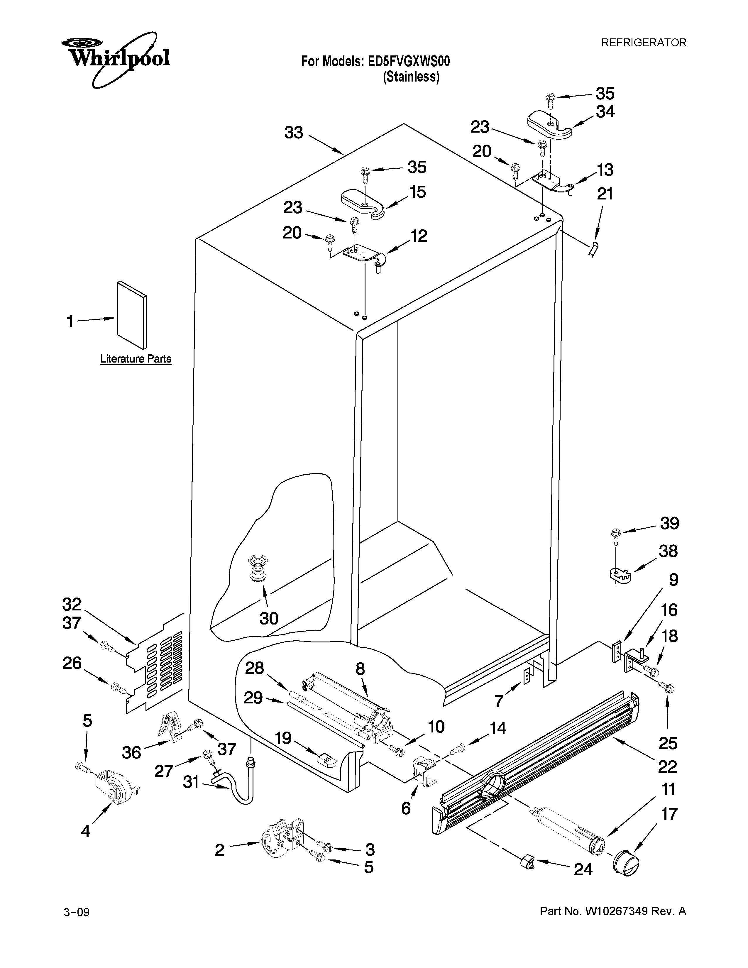 unit parts diagram and parts list for whirlpool roomairconditioner