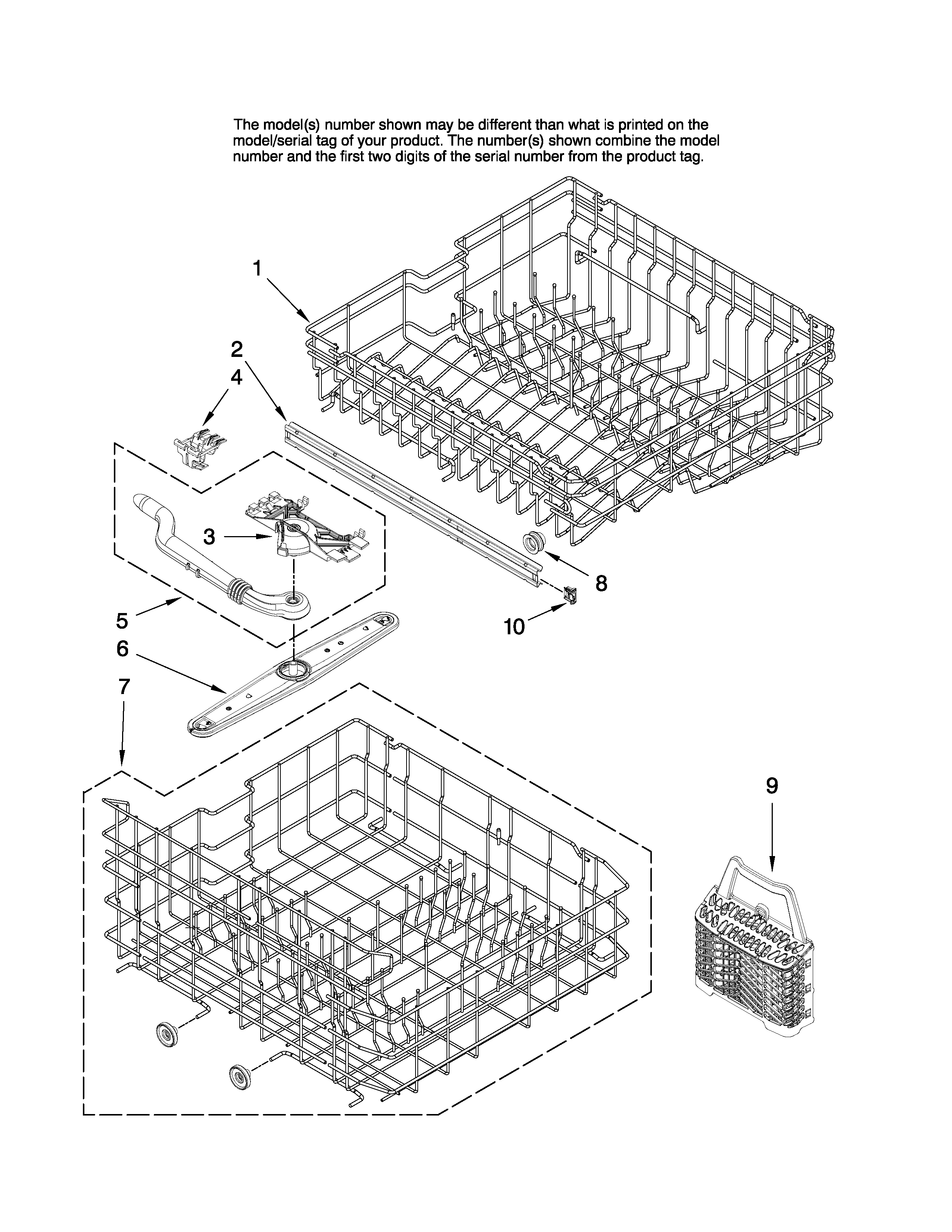 UPPER AND LOWER RACK PARTS Diagram & Parts List for Model