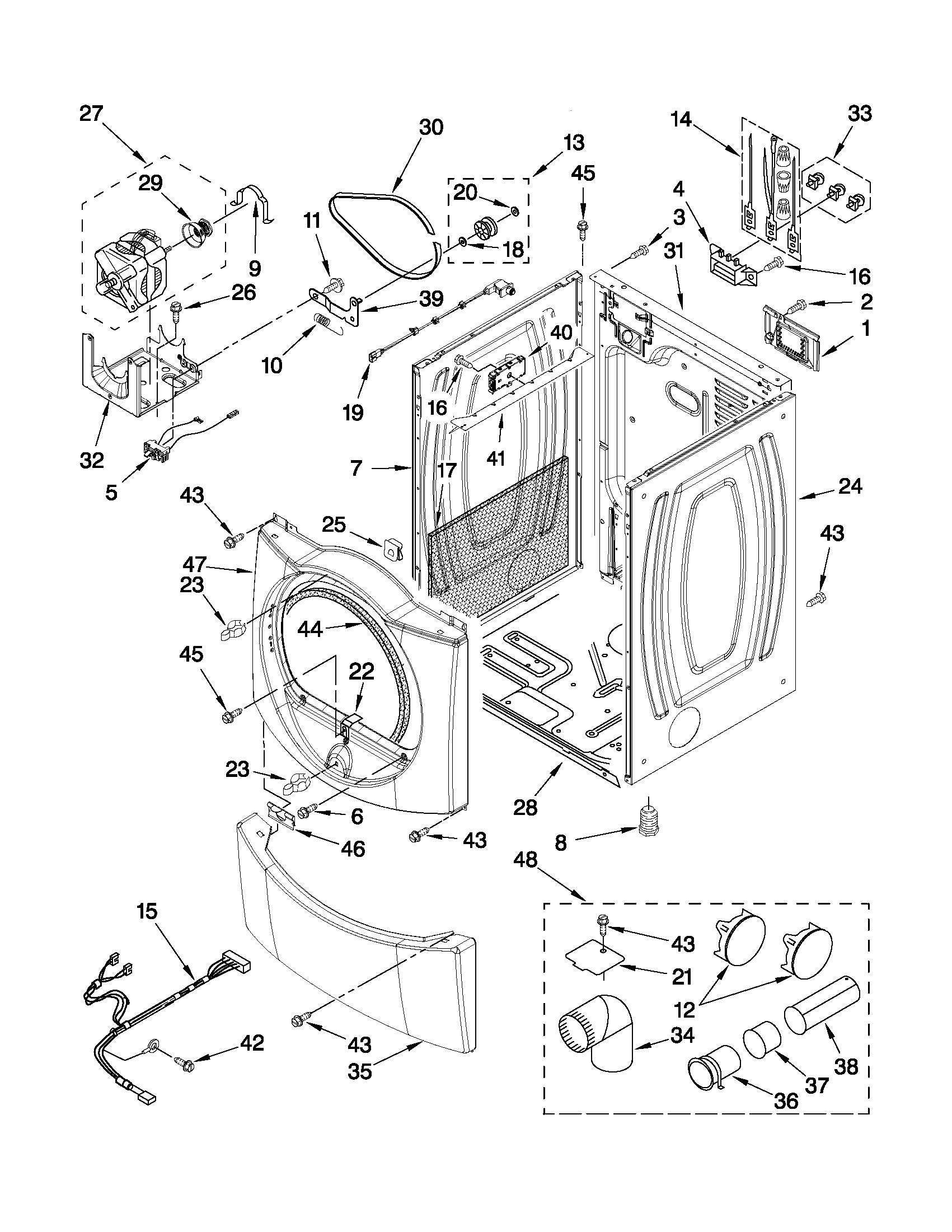 CABINET PARTS Diagram & Parts List for Model wed9750ww0