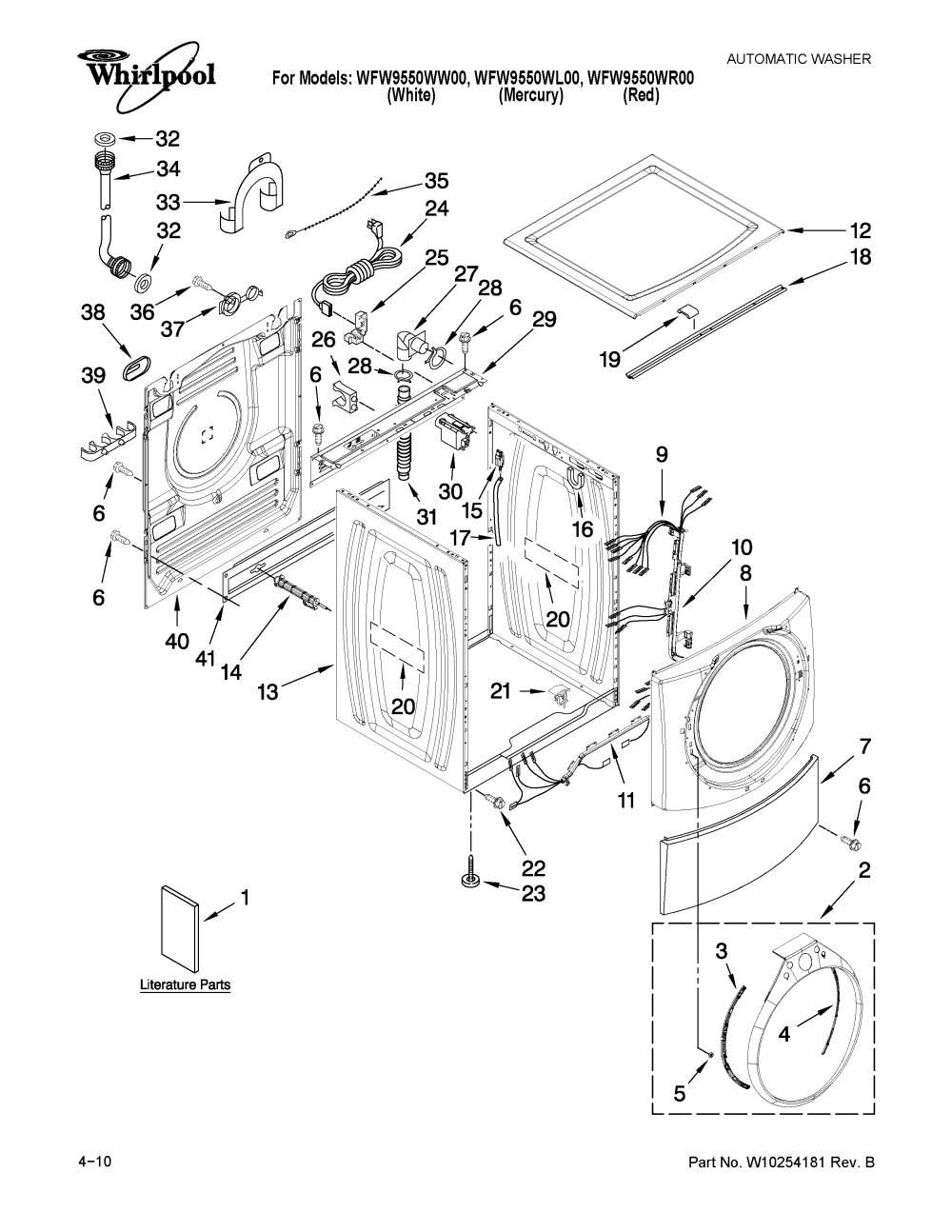 medium resolution of whirlpool wfw9550wl00 top and cabinet parts diagram