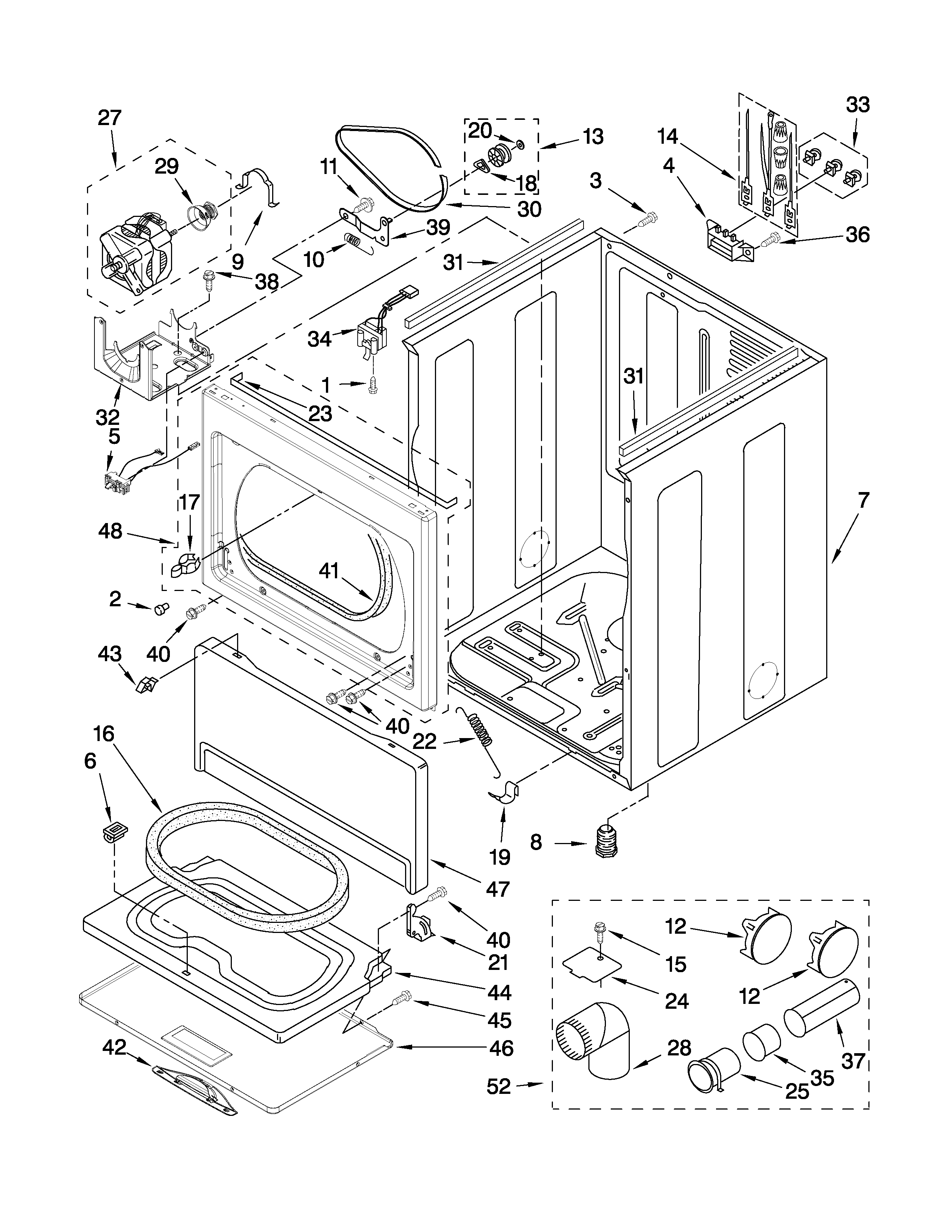 CABINET PARTS Diagram & Parts List for Model wed5600xw0