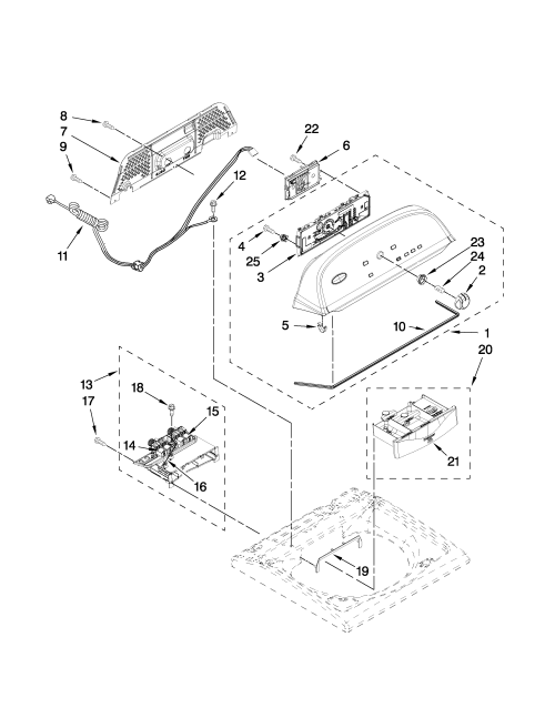small resolution of whirlpool wtw5550xw0 console and dispenser parts diagram