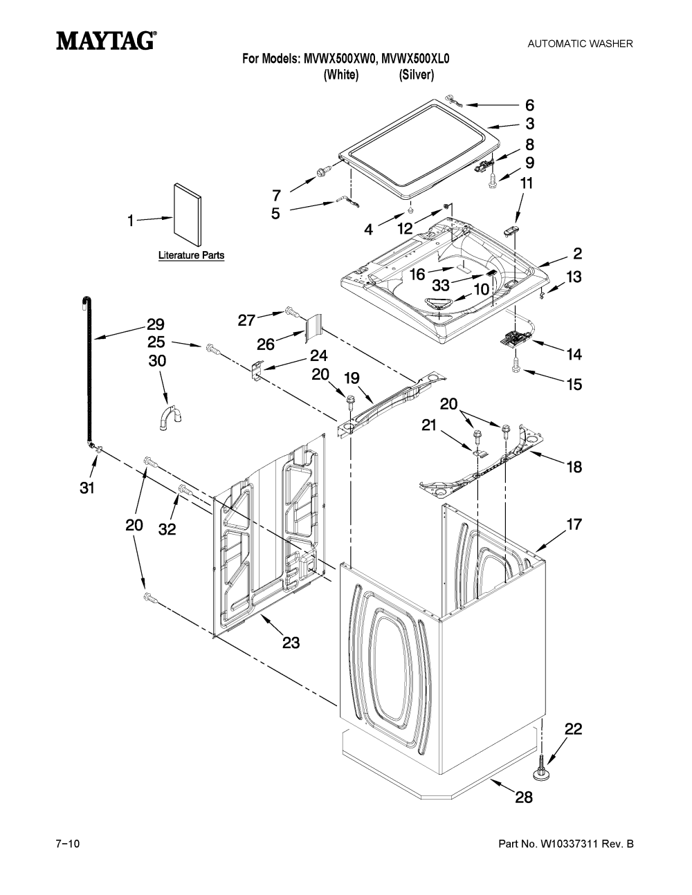 medium resolution of maytag mvwx500xw0 top and cabinet parts diagram