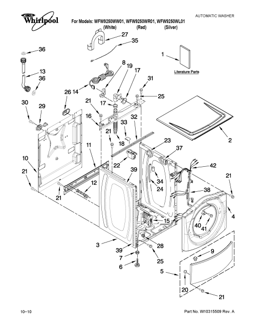 small resolution of whirlpool wfw9250ww01 top and cabinet parts diagram