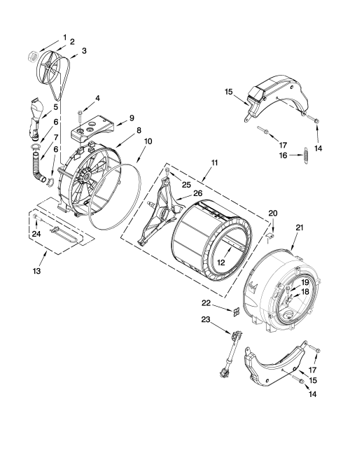 small resolution of whirlpool wfw9250ww01 tub and basket parts diagram