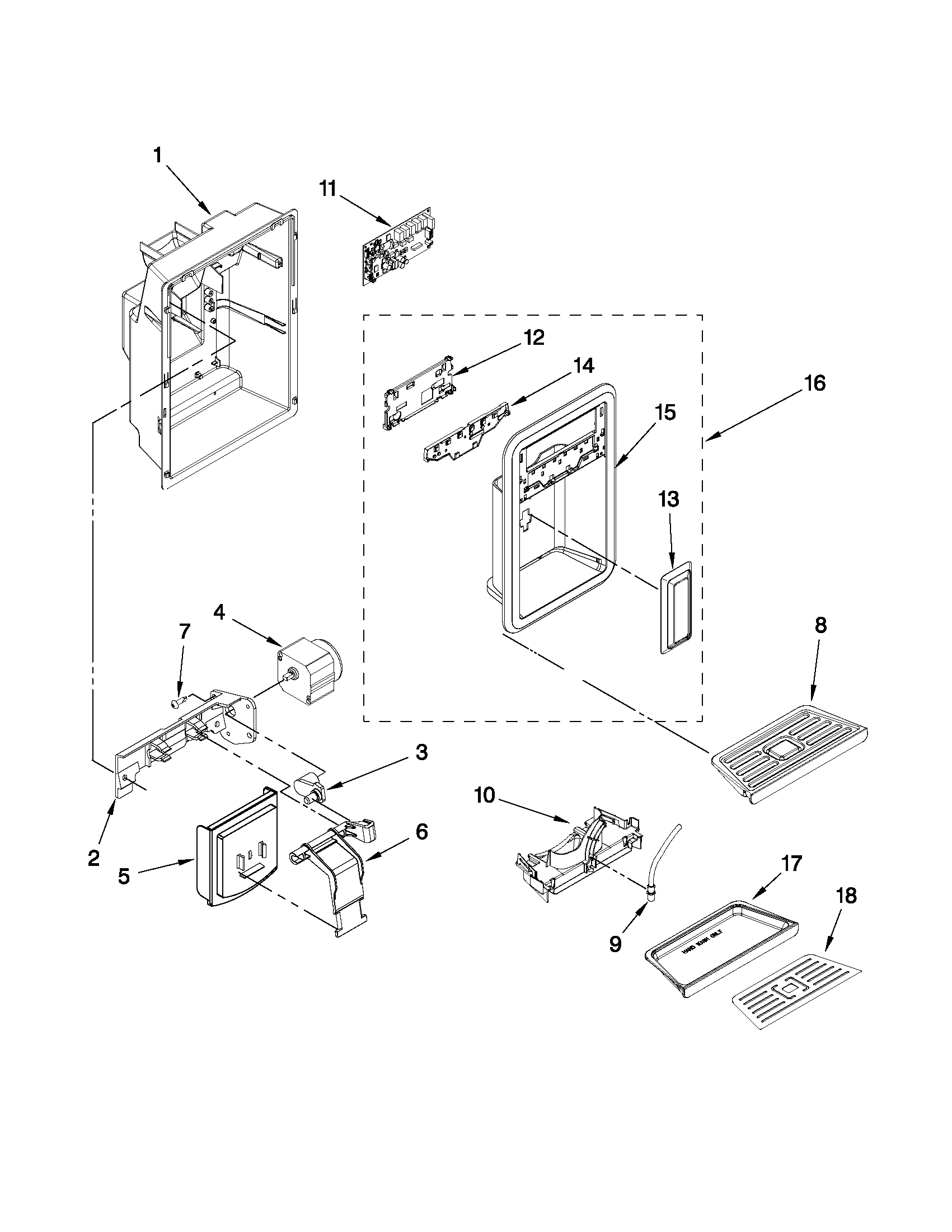 DISPENSER FRONT PARTS Diagram & Parts List for Model