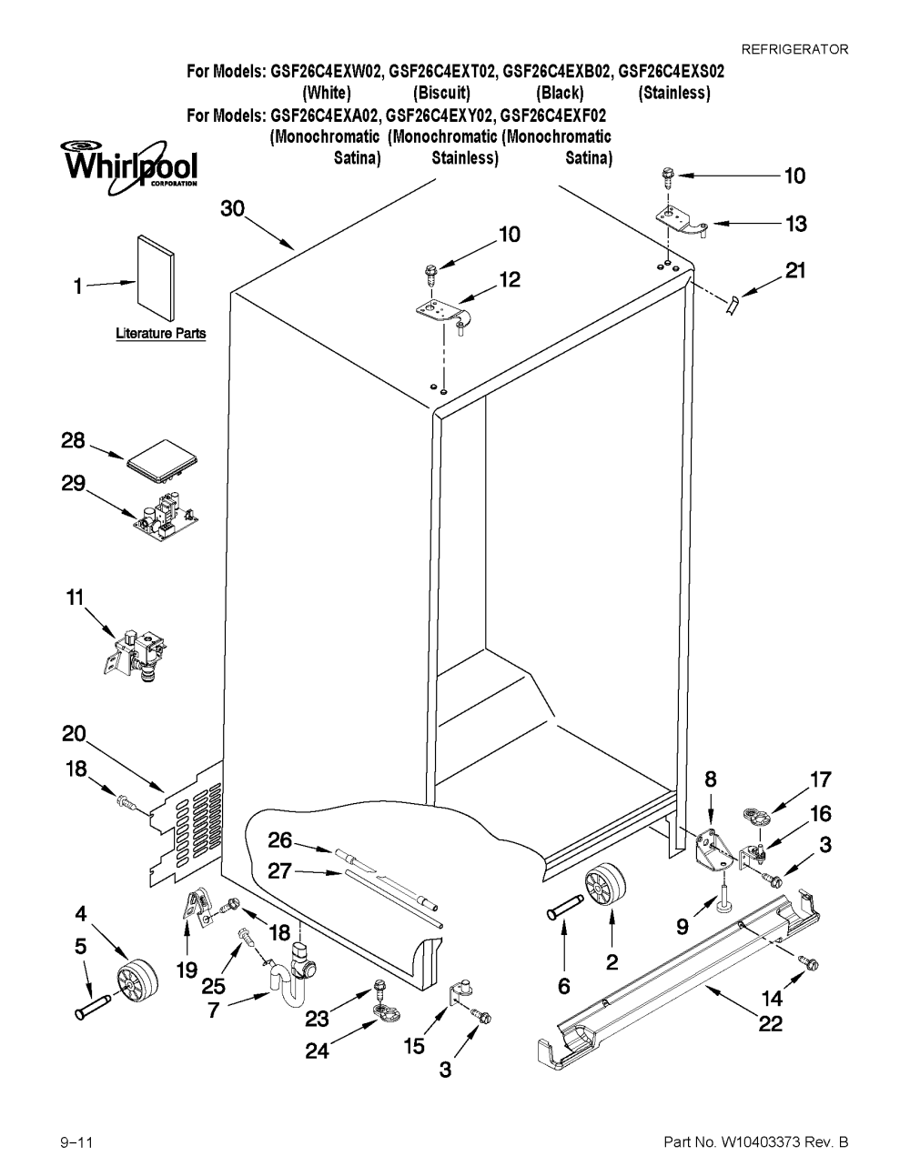 medium resolution of whirlpool gsf26c4exb02 cabinet parts diagram