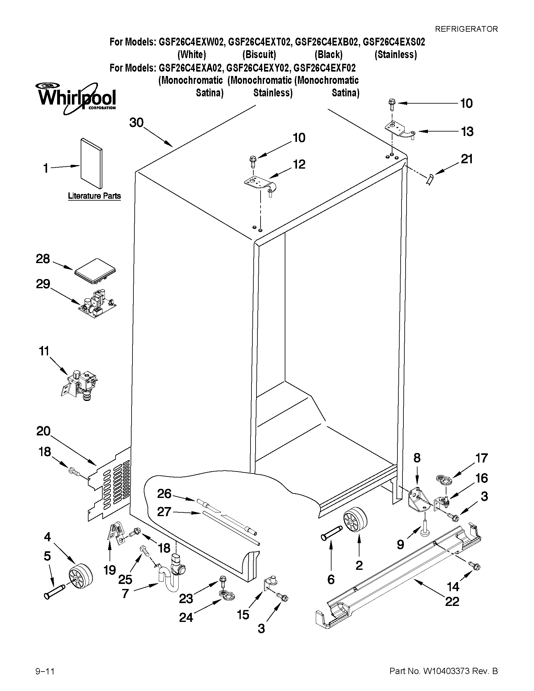 hight resolution of whirlpool gsf26c4exb02 cabinet parts diagram