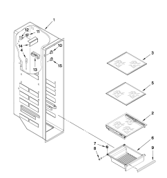 whirlpool gsf26c4exb02 freezer liner parts diagram [ 1701 x 2201 Pixel ]