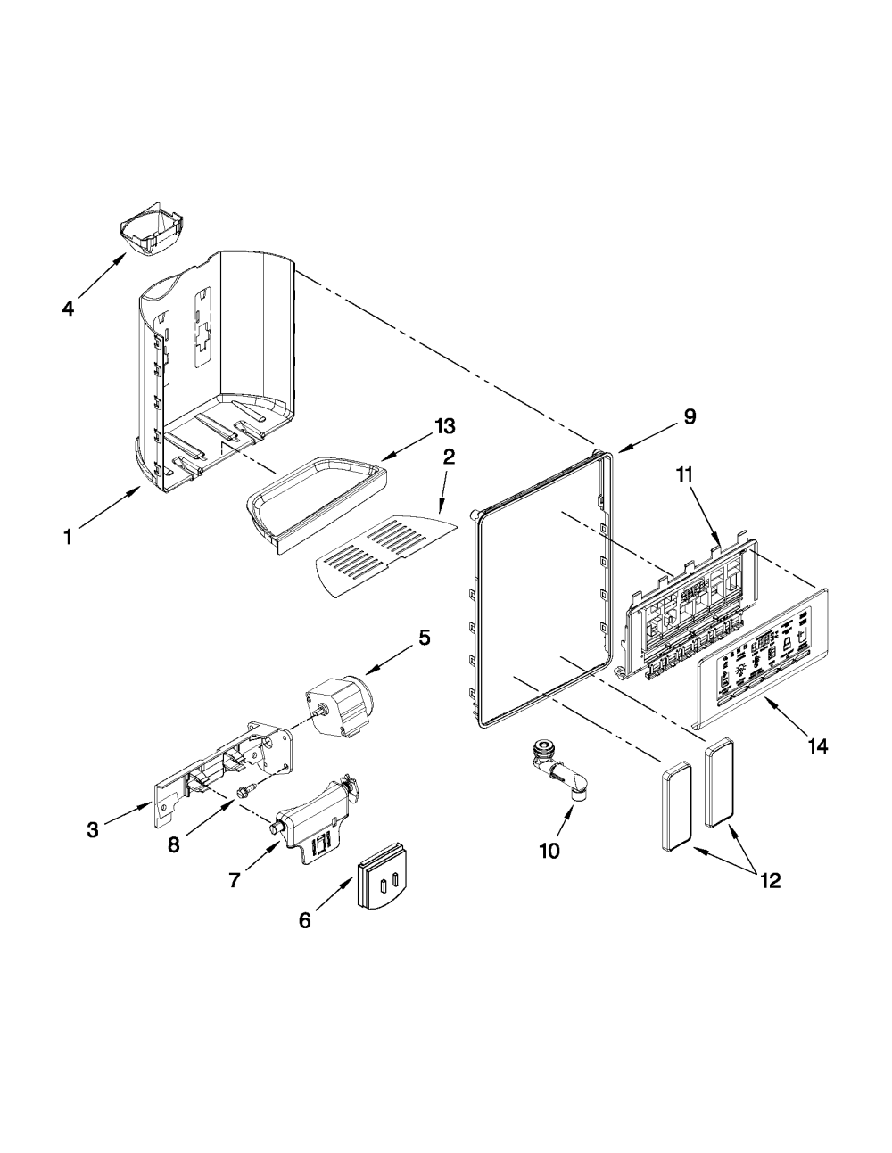 medium resolution of whirlpool gsf26c4exb02 dispenser front parts diagram