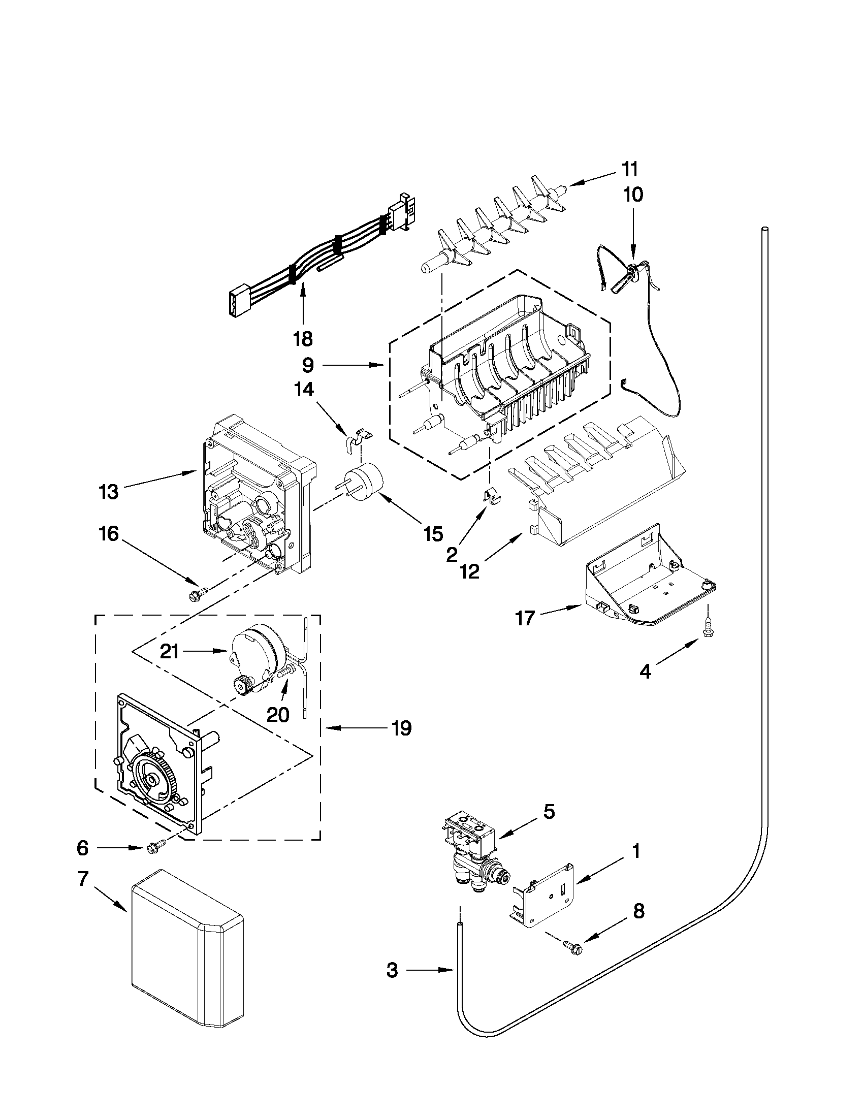hight resolution of whirlpool gsf26c4exb02 icemaker parts diagram