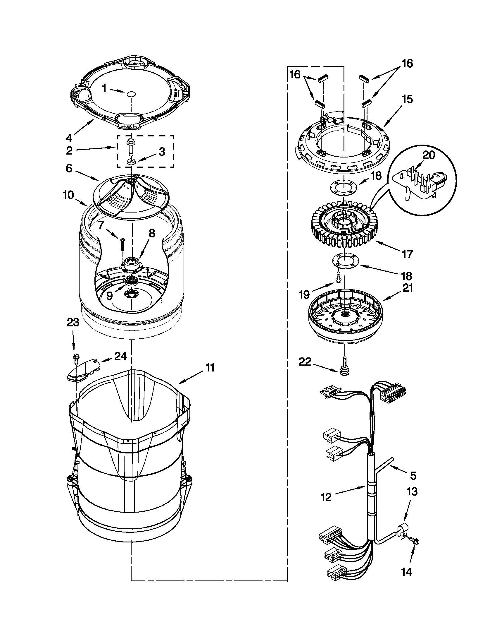 hight resolution of whirlpool wtw8200yw0 motor basket and tub parts diagram
