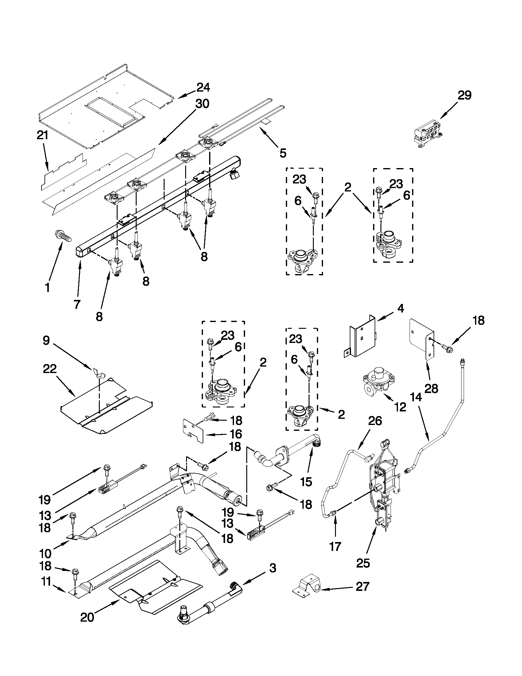 MANIFOLD PARTS Diagram & Parts List for Model jgs9900cdb01