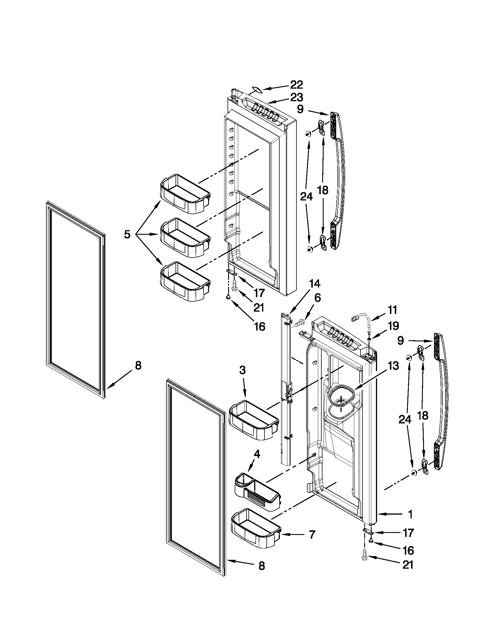 REFRIGERATOR DOOR PARTS Diagram & Parts List for Model
