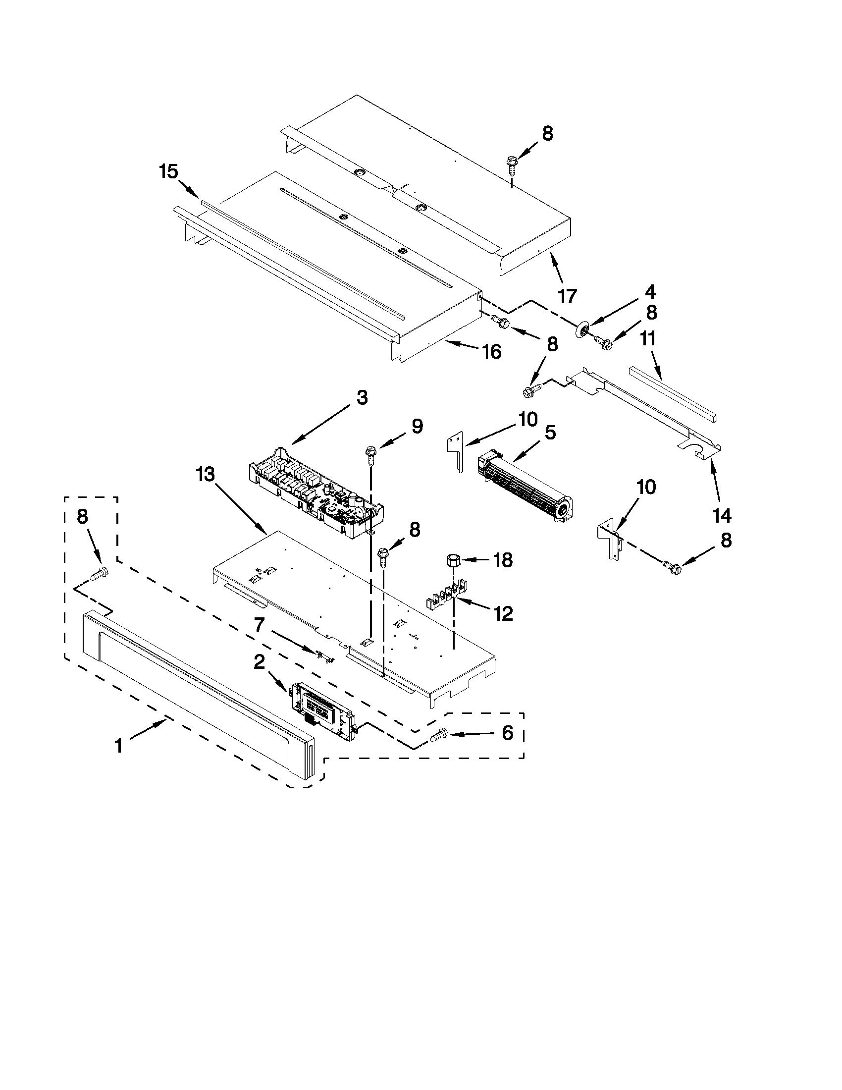 CONTROL PANEL PARTS Diagram & Parts List for Model