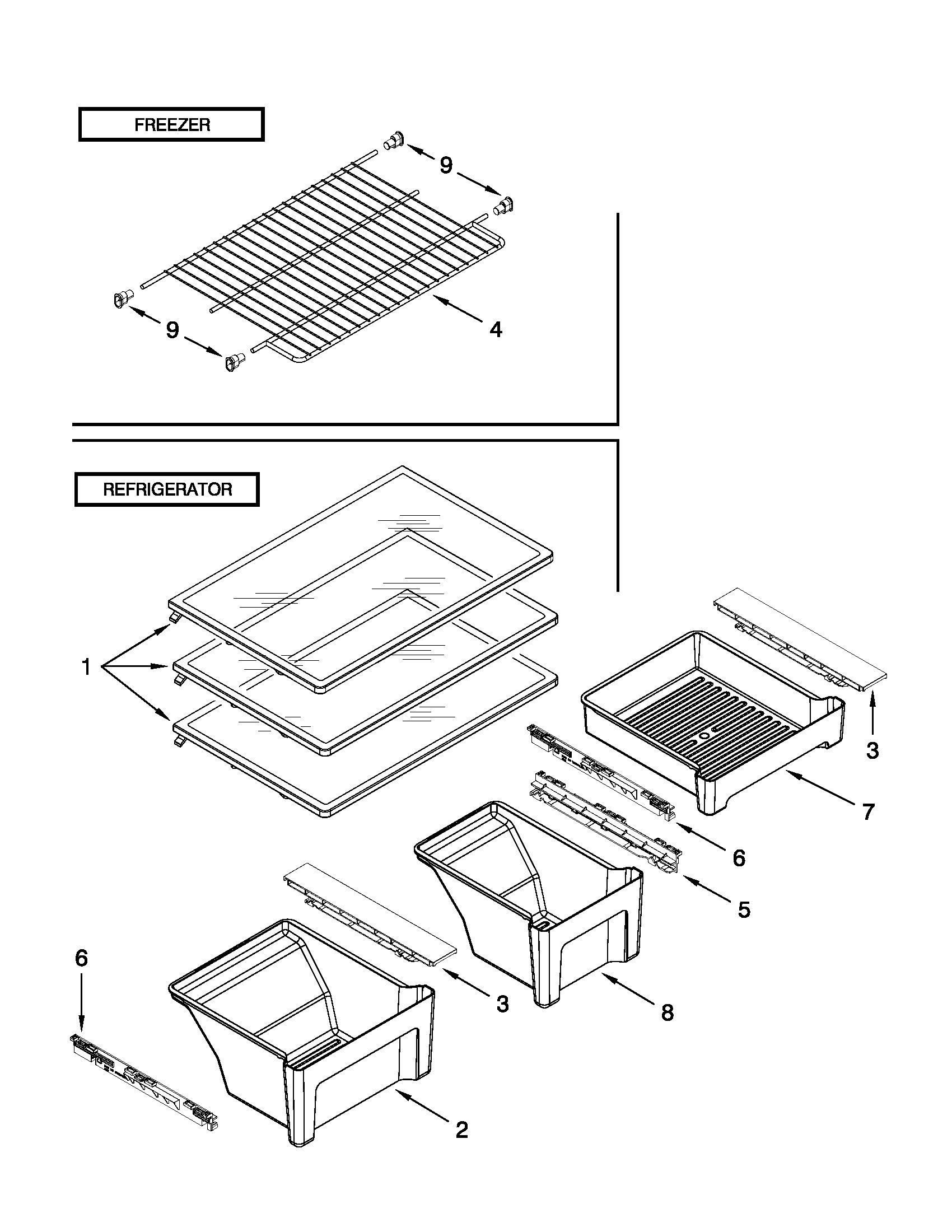 SHELF PARTS Diagram & Parts List for Model WRT311SFYB00