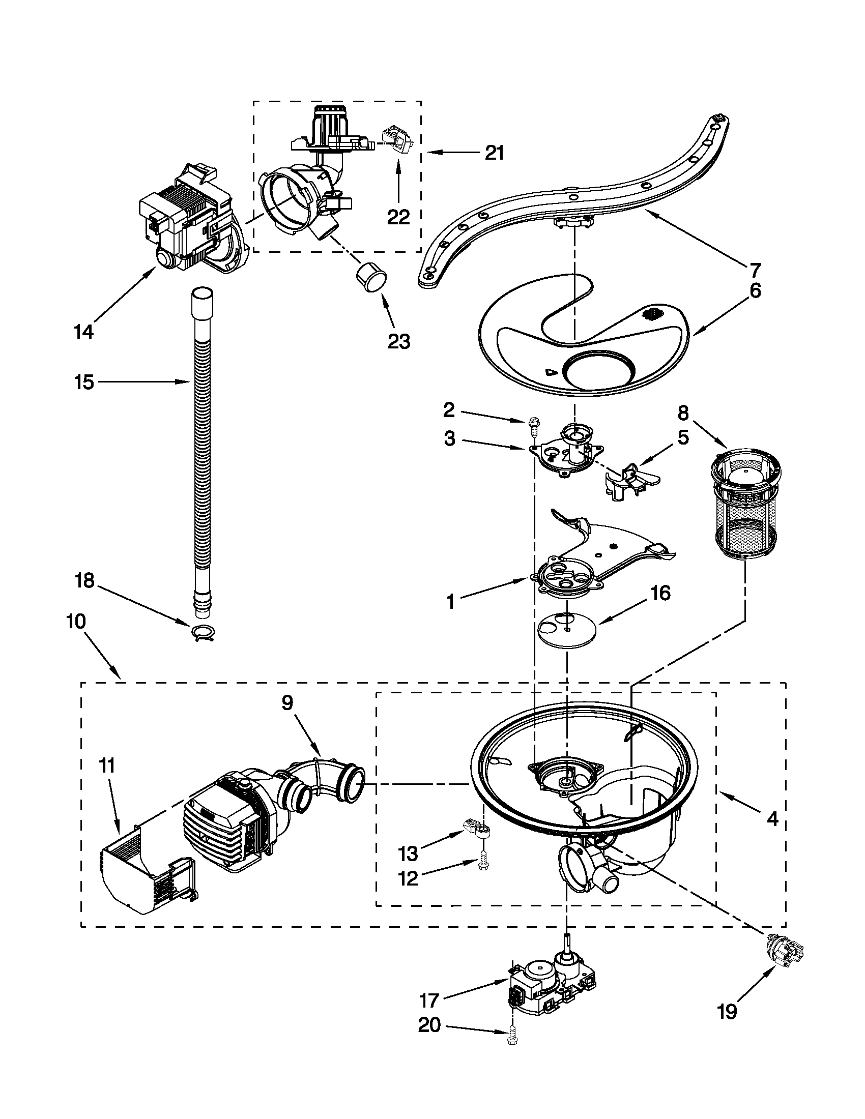 PUMP, WASHARM AND MOTOR PARTS Diagram & Parts List for