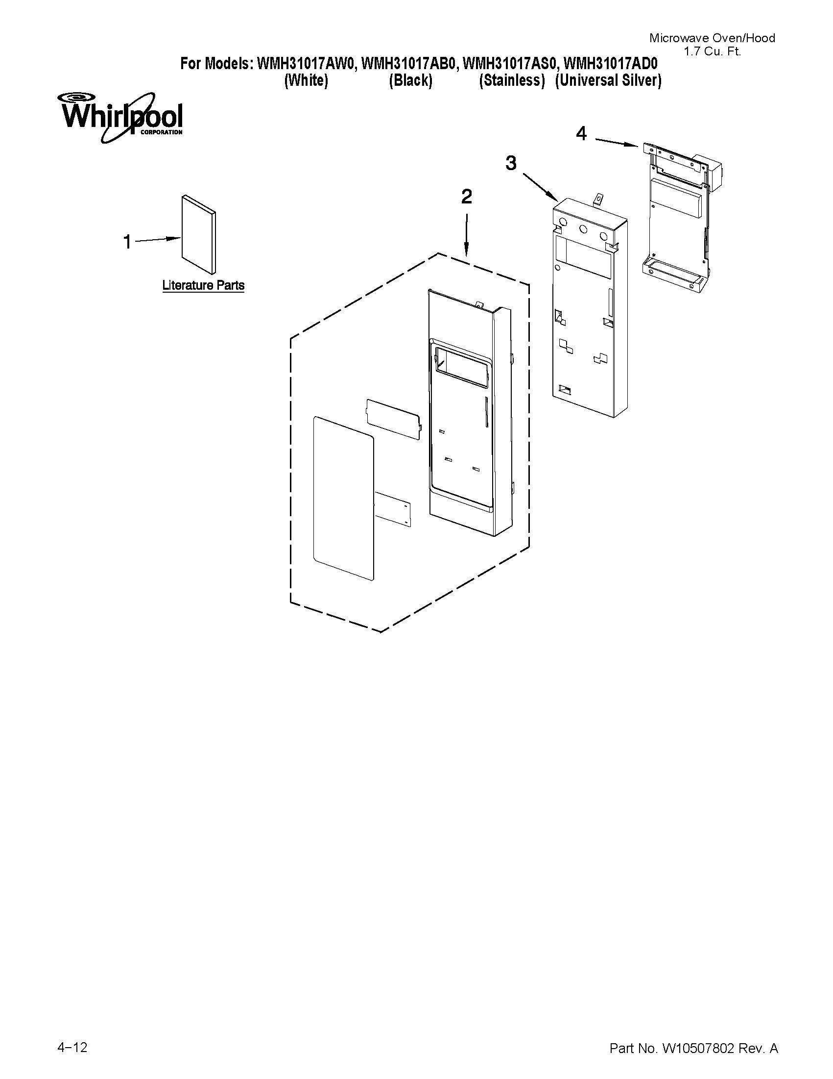 Whirlpool model wmh31017as0 microwave hood bo genuine parts kenmore microwave door switch diagram apollo microwave wiring diagram