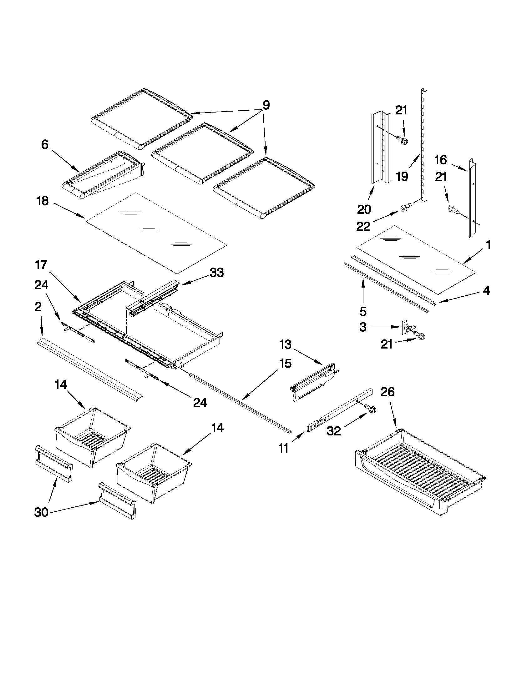 SHELF PARTS Diagram & Parts List for Model mfi2569yeb0